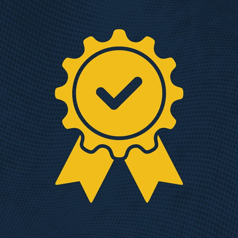 Certified ribbon icon in yellow